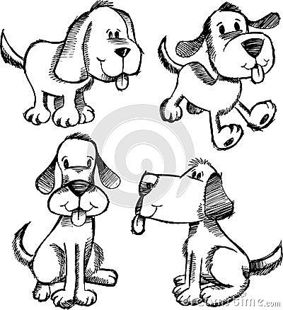 эскиз doodle собаки установленный