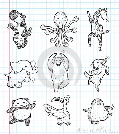 Free Doodle Animal Dance Icons Royalty Free Stock Images - 32328839