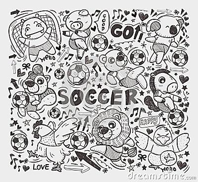 Doodle animal soccer player element