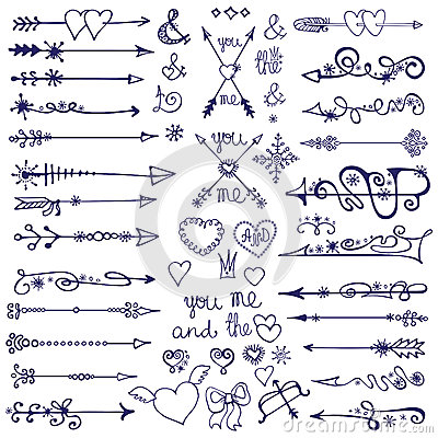 Free Doodle Arrows,decor Element,snowflakes.Winter Love Stock Photography - 49878072