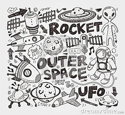 Doodle astronautyczny element