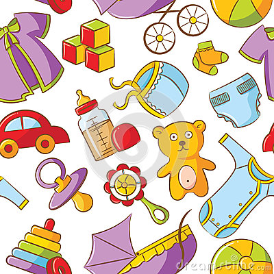 Doodle Baby Seamless Pattern