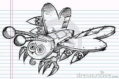 Doodle Battle Robot Butterfly Vector