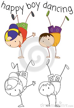 Free Doodle Boy Character Dancing Stock Photography - 130368372
