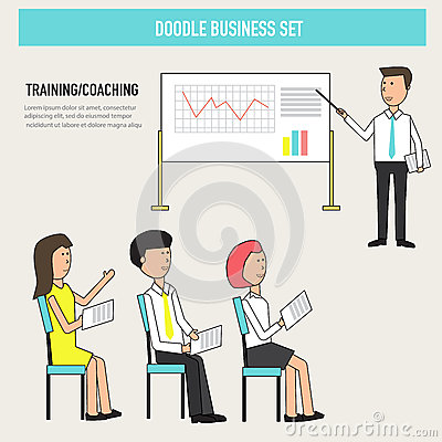 Doodle business coaching in the office improve skill or knowledg Vector Illustration