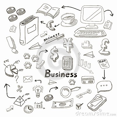Doodle business diagrams set on blackboard vector Vector Illustration
