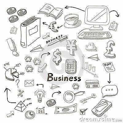 Doodle business diagrams set on blackboard vector Vector Illustration