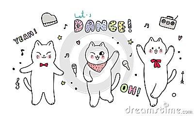 Cartoon cute Three cats dancing . Stock Photo
