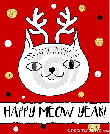 Free Doodle Cat In Christmas Deer Horns Headband. Modern Postcard, Flyer Design Template. Seasonal Winter New Year Greeting Card Stock Photo - 93753770