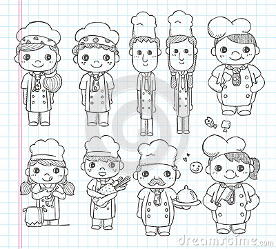 Doodle chef icons