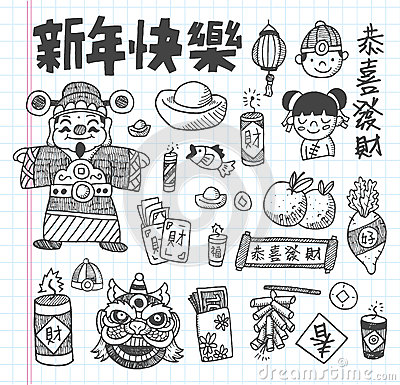 Doodle Chinese New Year icons set