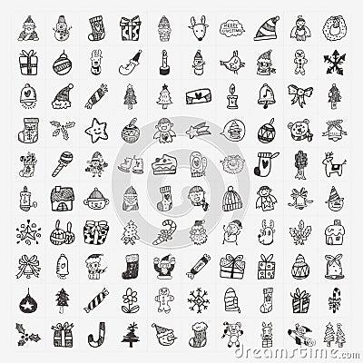 100 Doodle Christmas icon set
