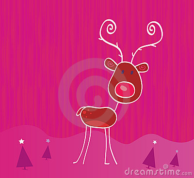 Doodle christmas reindeer Rudolph on snow