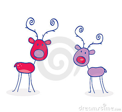 Doodle christmas reindeers isolated on white