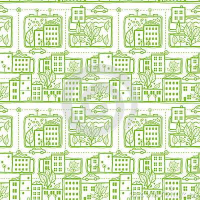 Doodle city streets seamless pattern background