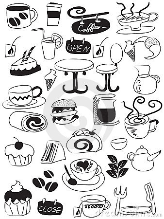 Doodle coffee and tea icon set