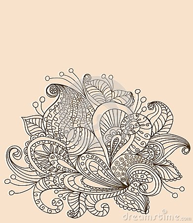 Doodle color floral background