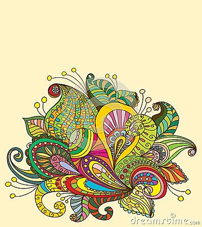 Doodle color floral background