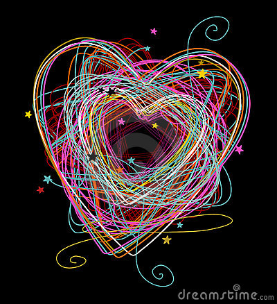 Doodle colorful heart