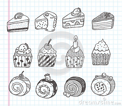 Doodle cupcake icons