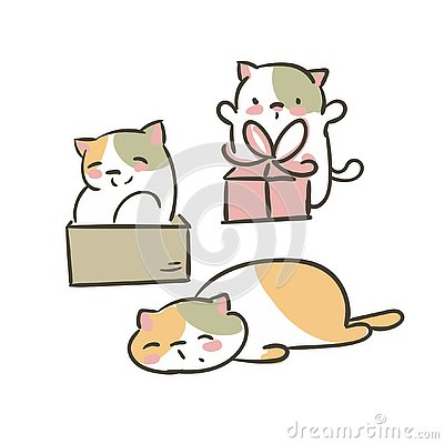 Doodle cute little cat vector set collection present box tired Stock Photo