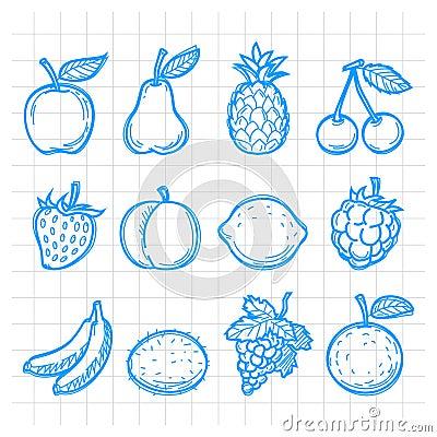 Doodle drawn fruits