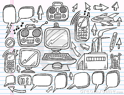 Doodle Electronics Work Business  set