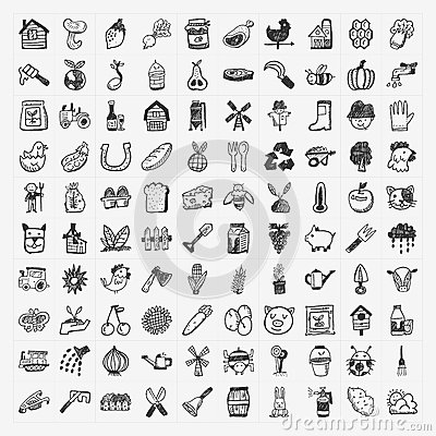 Free Doodle Farming Icon Set Royalty Free Stock Photos - 35686848