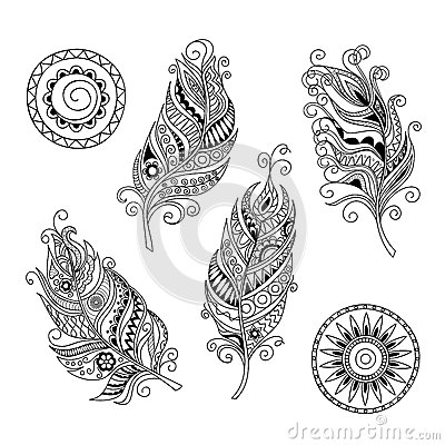Doodle Feathers And Mandalas Stock Vector Image 70715623