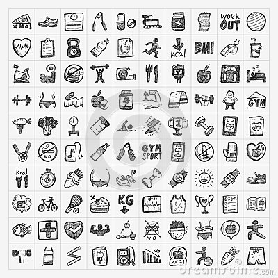 Free Doodle Fitness Icons Royalty Free Stock Photography - 38185177