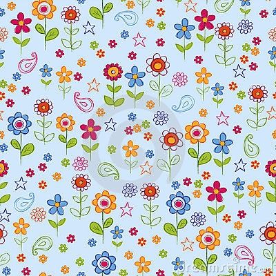 Free Doodle Flower Garden Seamless Repeat Pattern Royalty Free Stock Photos - 9067358