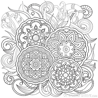 Mehndi Image For Adults Coloring Page Vector Illustration Eps 10