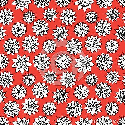 Doodle flowers pattern