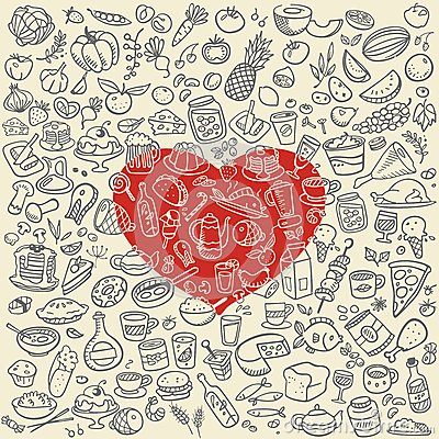 Free Doodle Food Icons Royalty Free Stock Images - 43993169