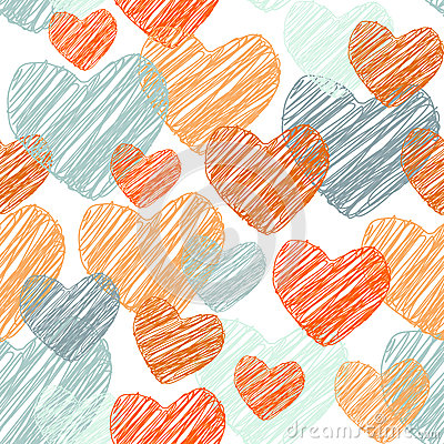 Free Doodle Funny Seamless Pattern With Orange And Blue Hearts. Vector Royalty Free Stock Images - 53612749