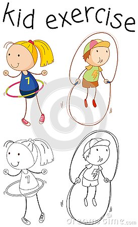 Free Doodle Girl Character Excercise Royalty Free Stock Photo - 130368295