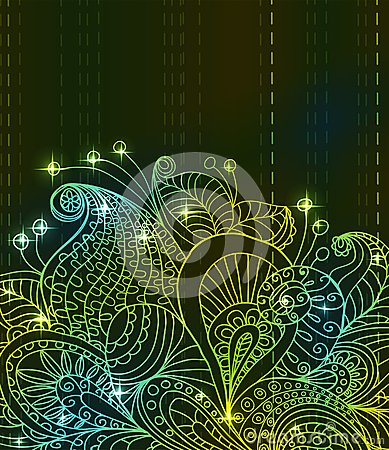 Doodle green bright color floral background