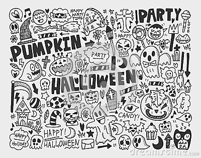 Doodle halloween holiday background