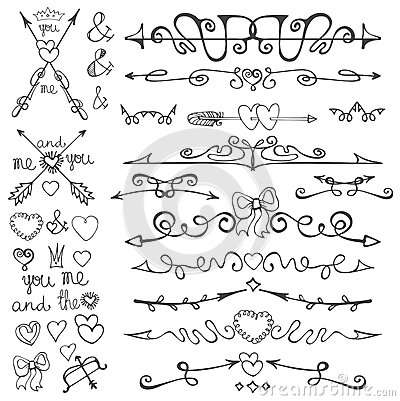 Valentines Day And Wedding Arrows SetDoodle Hand Drawn Decor hearts