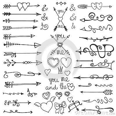 Free Doodle Hand Drawn Arrows, Hearts, Elements. Valentine Stock Image - 50408891
