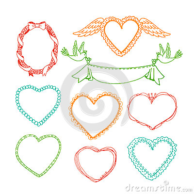 Free Doodle Hand Drawn Heart Shape Frames And Floral Stock Photos - 52733293