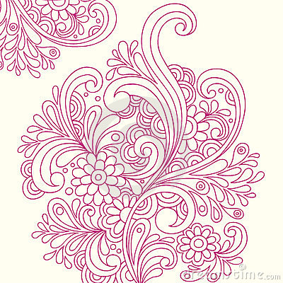 Doodle Henna Abstract Flowers Vector