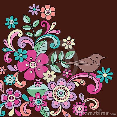 Doodle Henna Bird and Flowers Vector