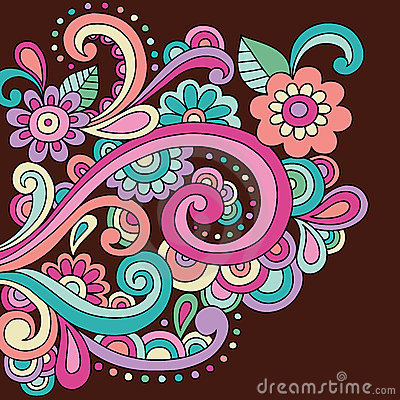 Doodle Henna Doodle Flowers and Swirls Vector