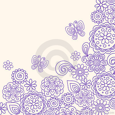 Doodle Henna Flowers Butterfly Vector