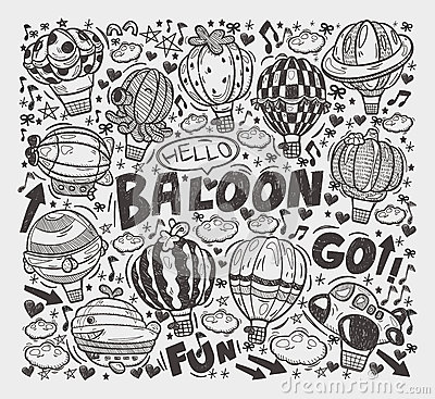 Doodle hot air balloon elements
