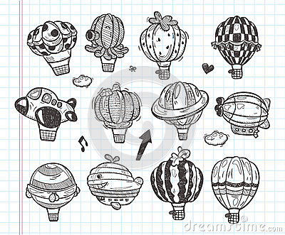Doodle hot air balloon icon