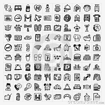Doodle hotel icons set