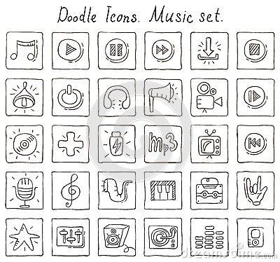 Free Doodle Icons. Music Set Royalty Free Stock Images - 38838129