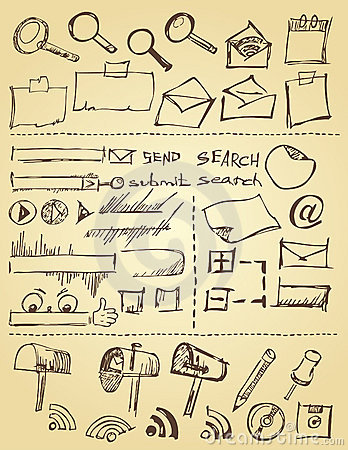 Doodle icons and web design elements
